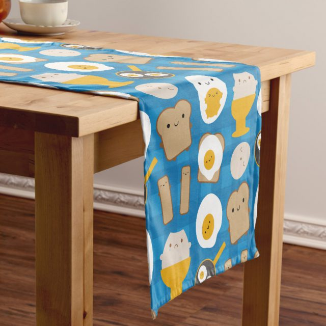 kawaii eggs for breakfast table runner