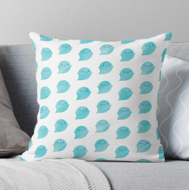 watercolour ghosts pillow