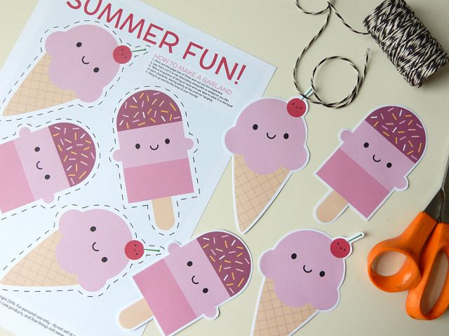 summer ice cream free printable garland