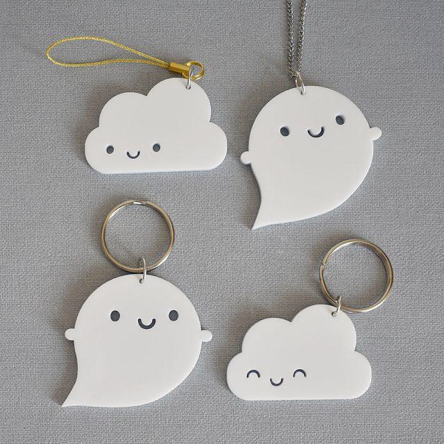 kawaii cloud and ghost keyrings