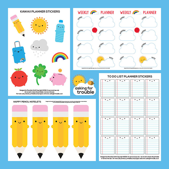kawaii back to school planner printables