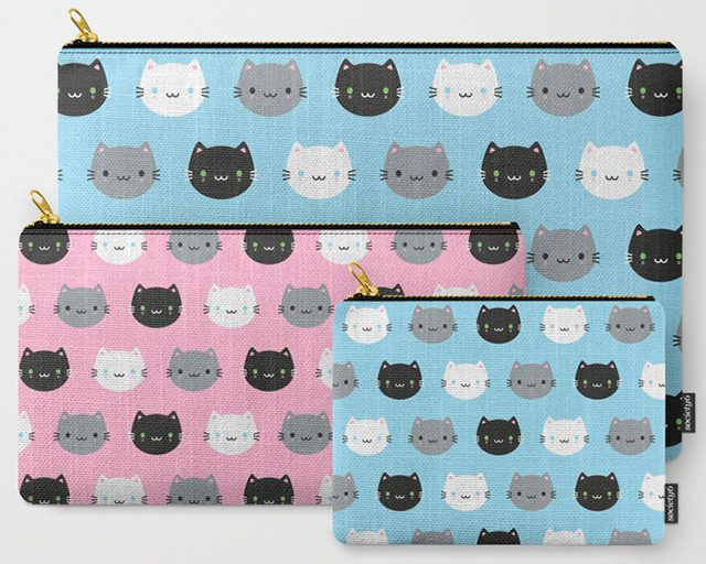 cute cats and kawaii kittens pouches
