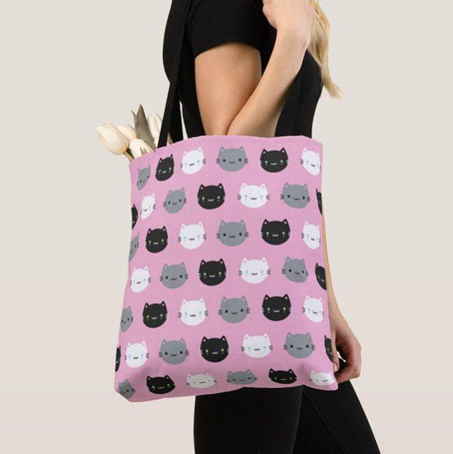 cute cats and kawaii kittens tote bag