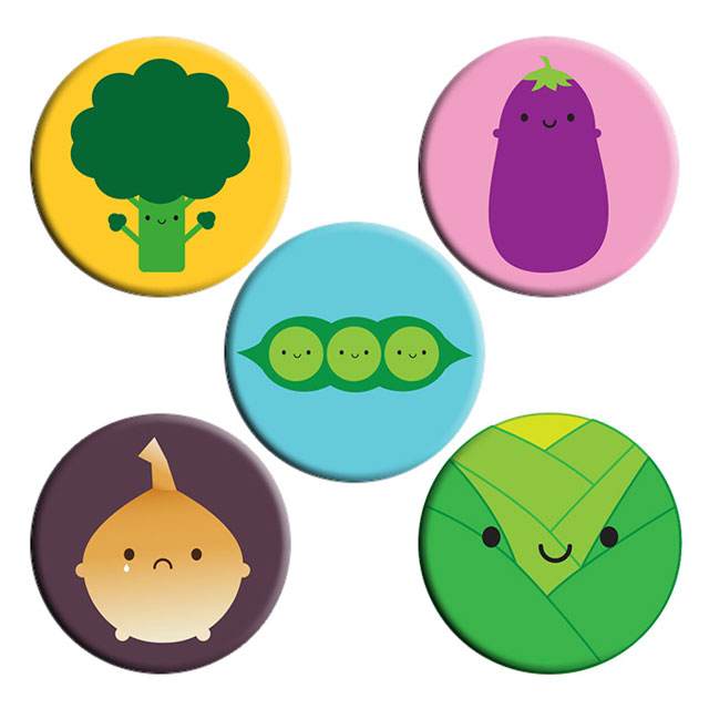kawaii vegetables badges