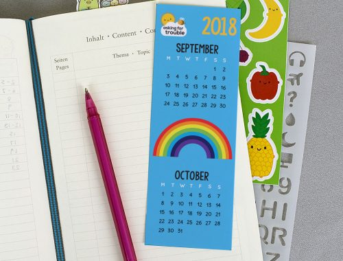 kawaii printable calendar bookmark