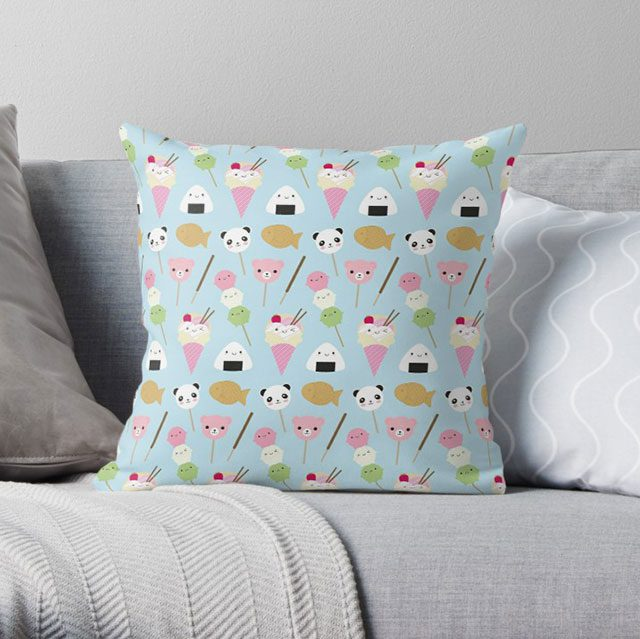 Kawaii Japanese Snacks pillow