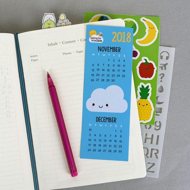 november december printable calendar bookmark