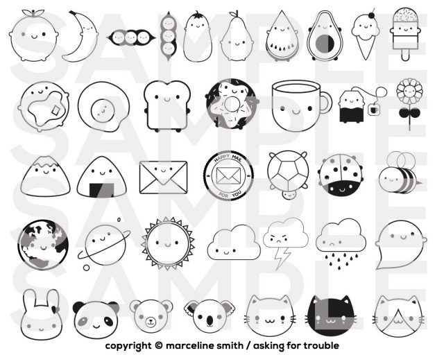 kawaii character stamps