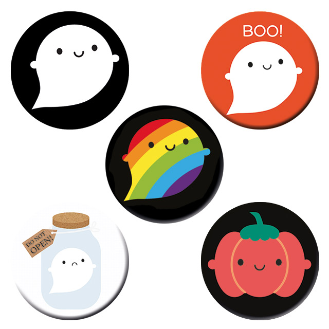 kawaii ghost badges