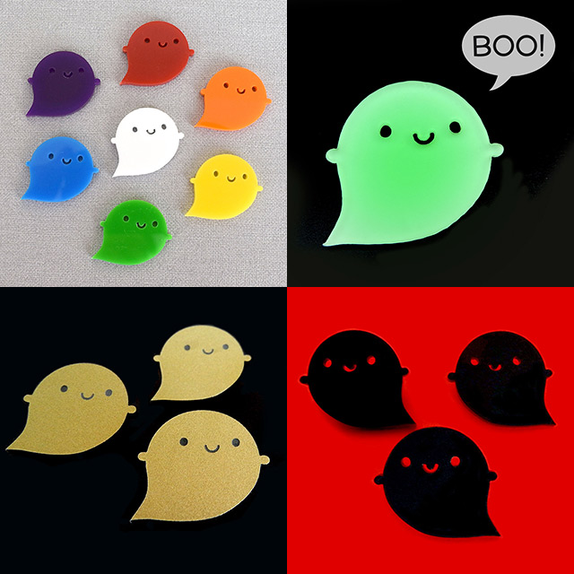 kawaii ghost brooches