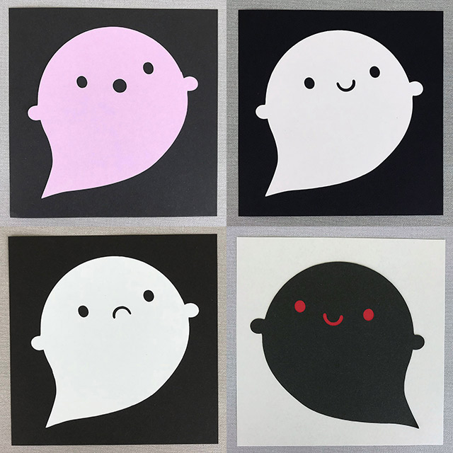 kawaii ghost paper art
