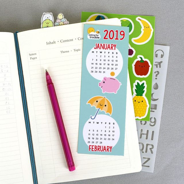 Printable 2019 calendar bookmarks