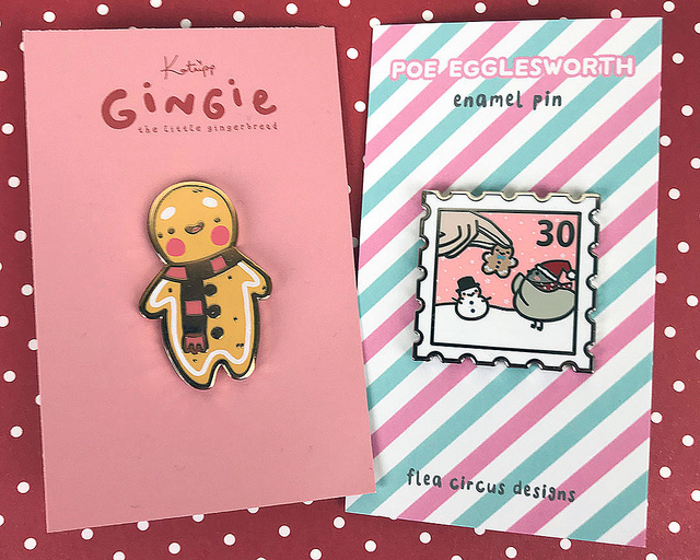 kawaii christmas enamel pins