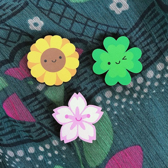 sakura, sunflower and lucky clover kawaii pins