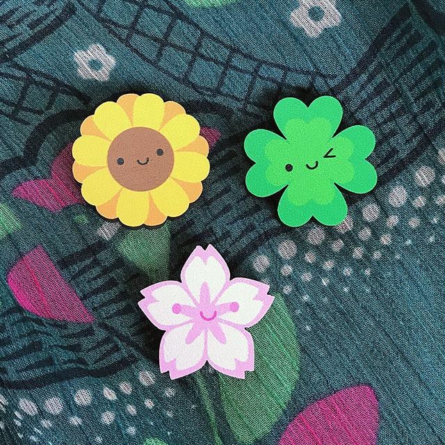 spring flowers kawaii pins