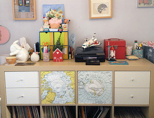 IKEA expedit with map decals
