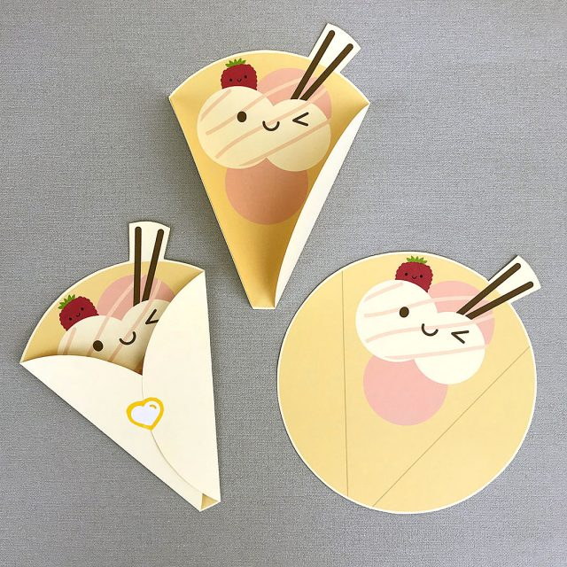 kawaii Crepe folded notecard