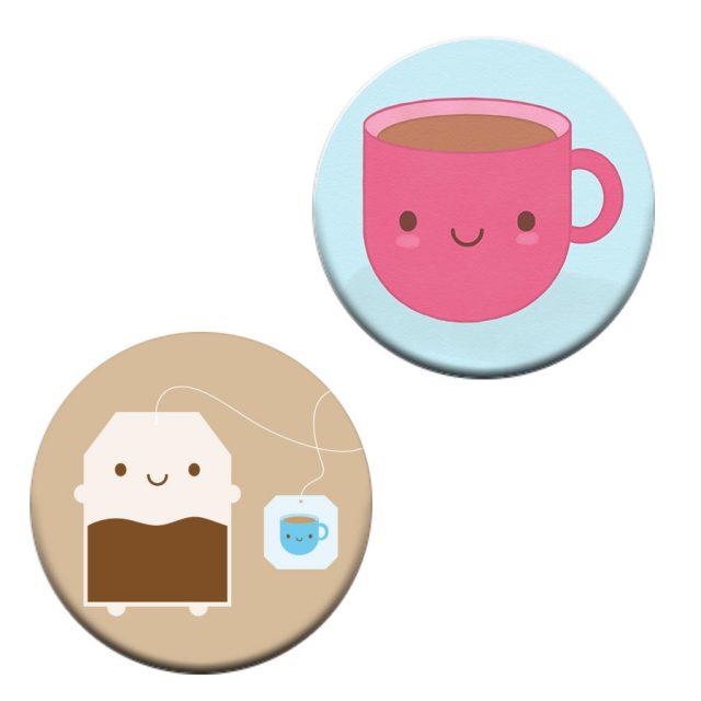 kawaii tea badge set