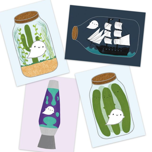 Trapped Ghosts kawaii postcards