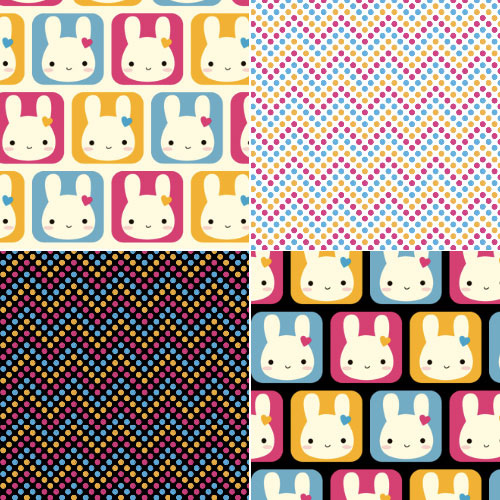 Bunny Squares kawaii fabric patterns