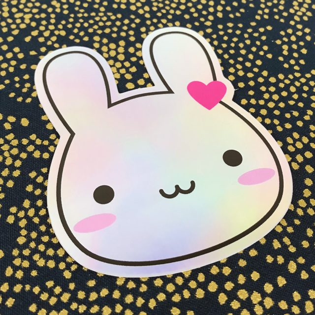 holographic bunny sticker