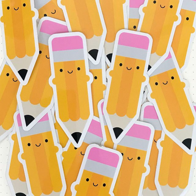 happy pencils kawaii stickers