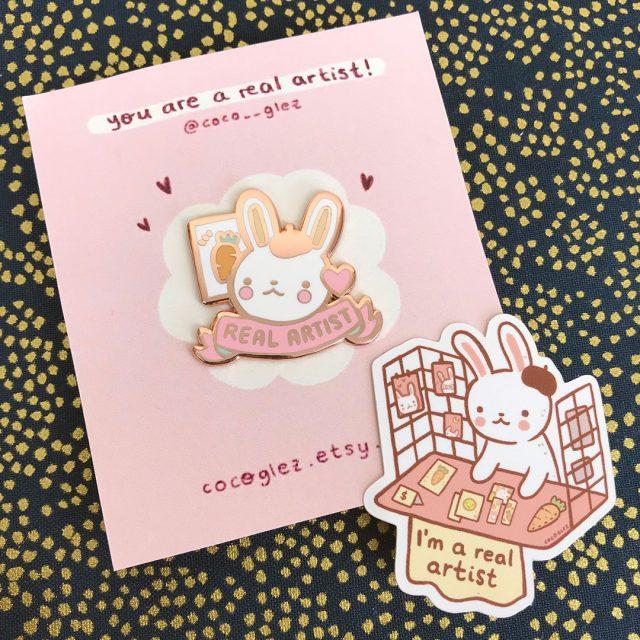 bunny artist enamel pin