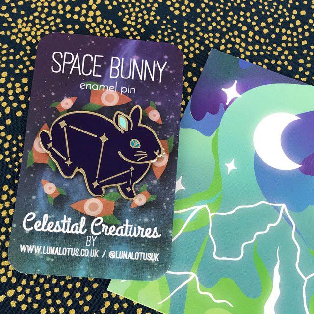 space bunny enamel pin