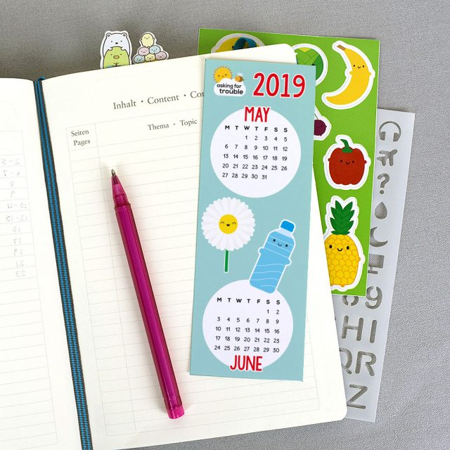 free printable calendar bookmark
