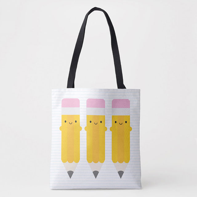 kawaii pencils tote bag