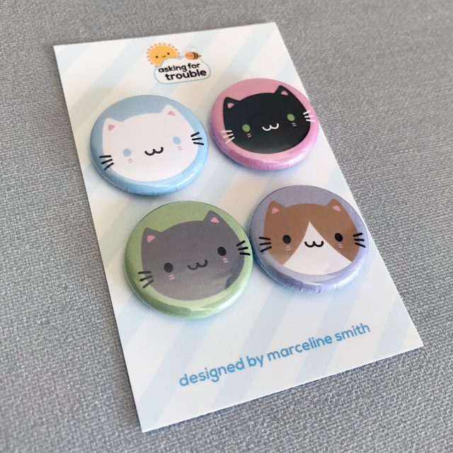 kawaii cat badges
