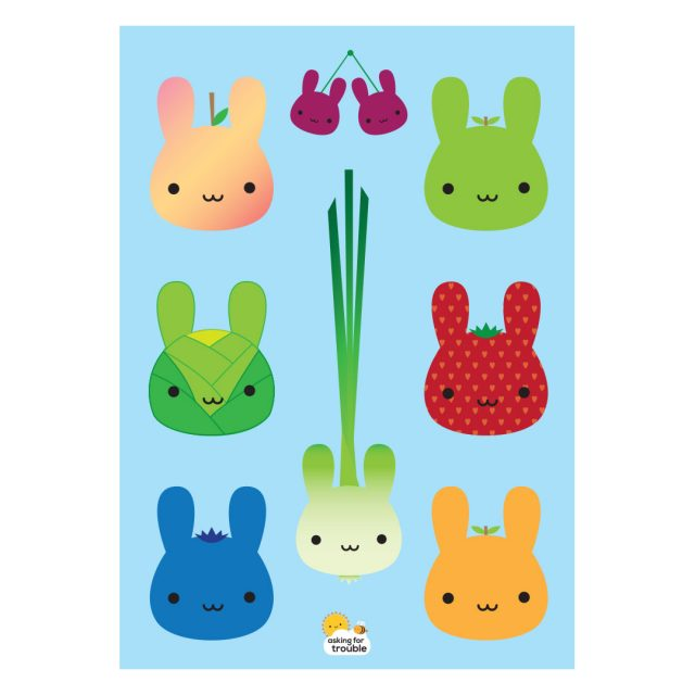 5 a day bunnies postcard