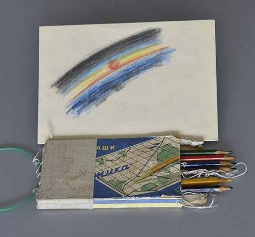 Alexei Leonov's tin of coloured pencils