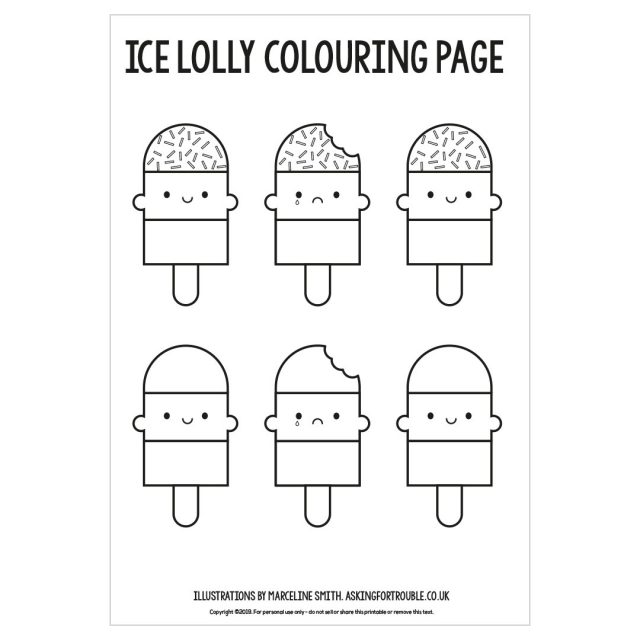 kawaii ice lolly colouring page