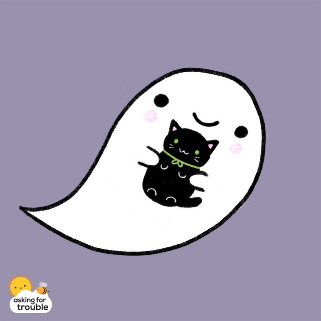 ghost and black cat