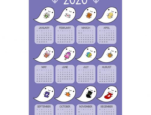 Kawaii 2020 Calendar - Ghost Favourites