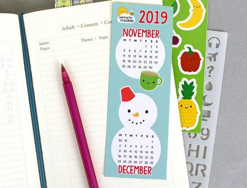 printable calendar bookmark