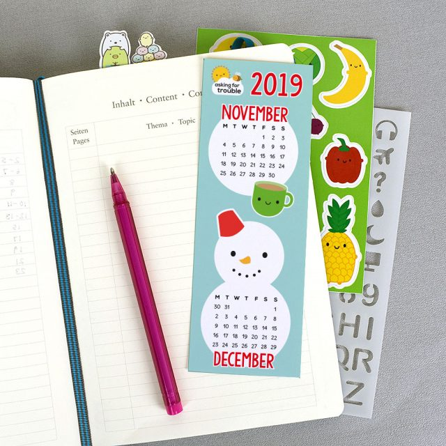 printable calendar bookmark