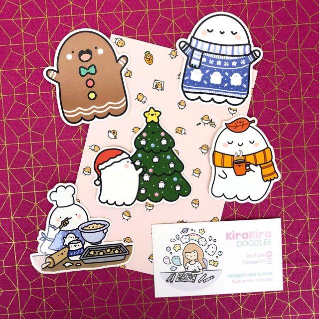 Spooky McCute kawaii christmas stickers