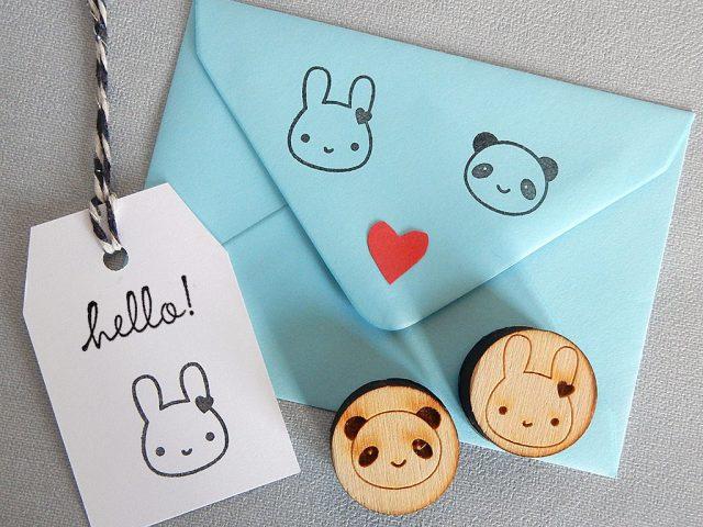 bunny and panda stamps