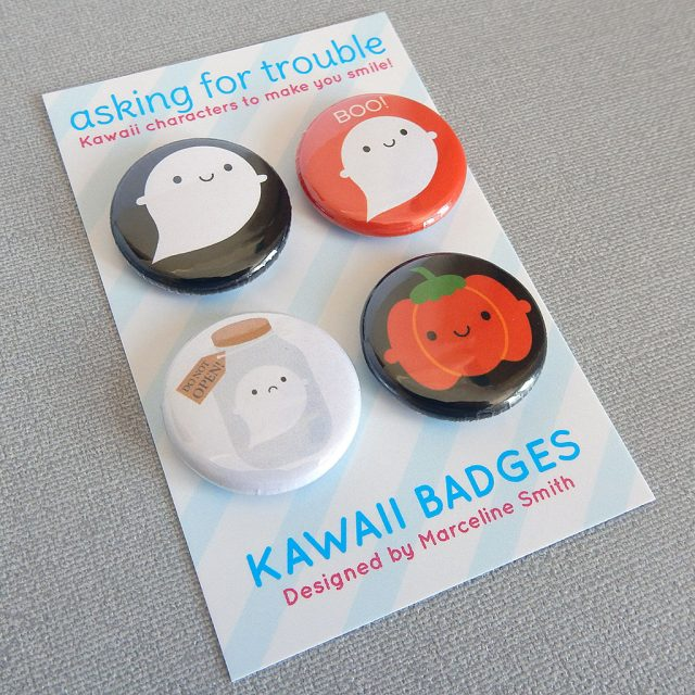 kawaii ghosts badges