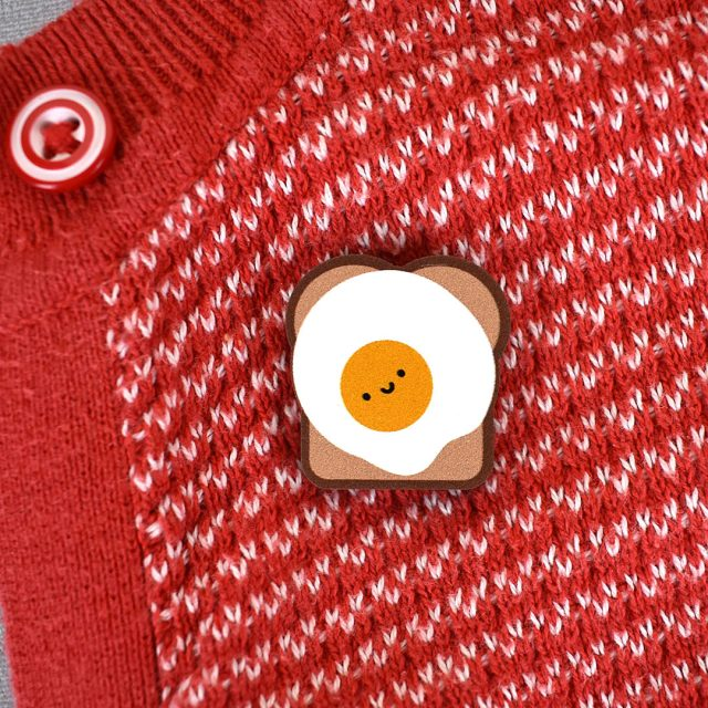 egg on toast wooden pin