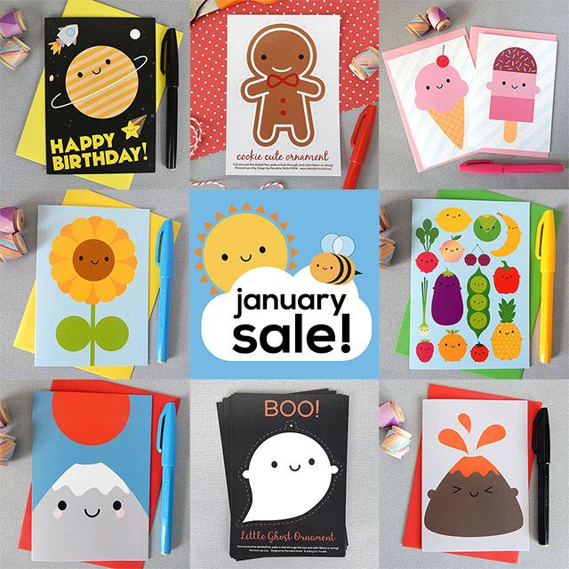 january sale kawaii cards