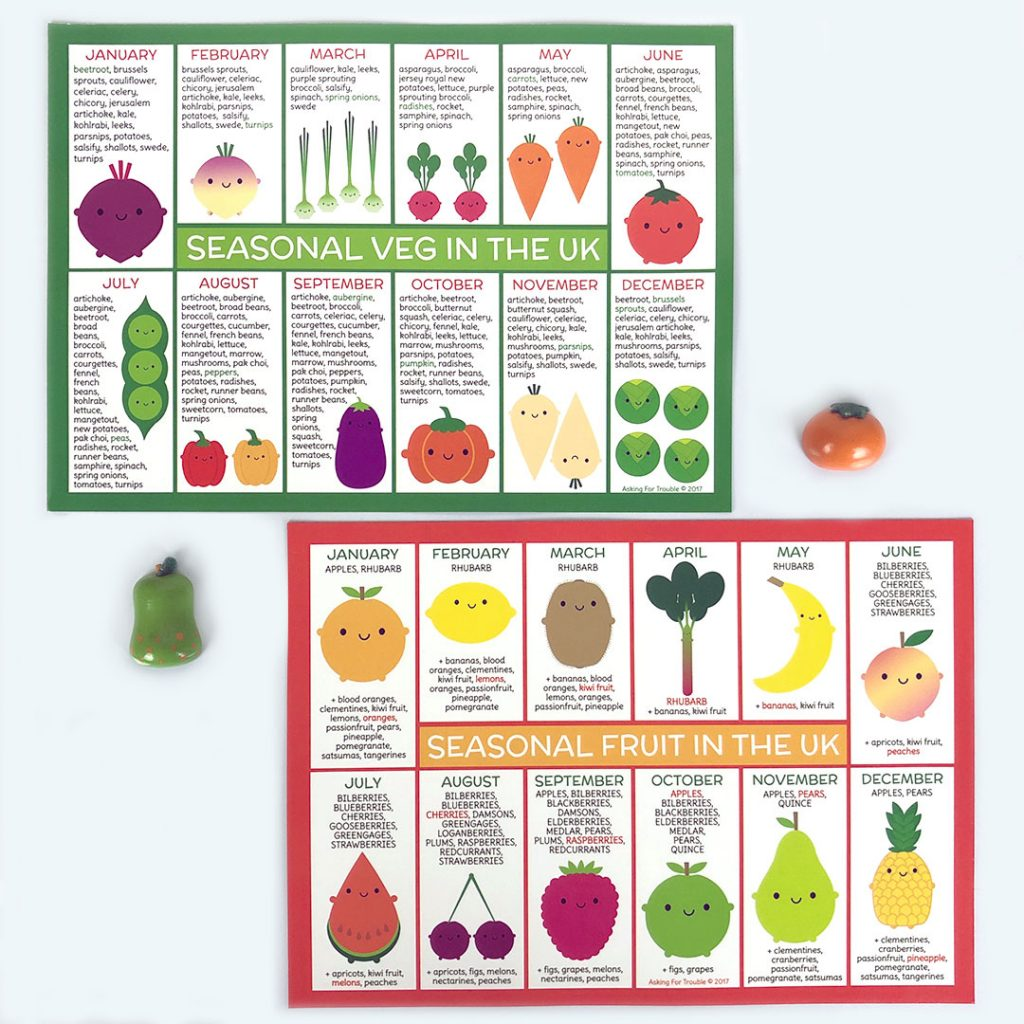 seasonal fruit and vegetables fridge magnets