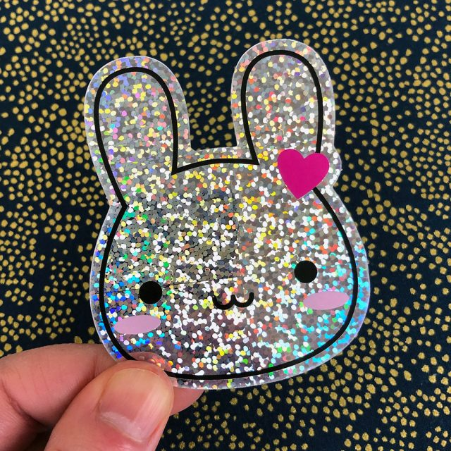 kawaii bunny holo glitter sticker