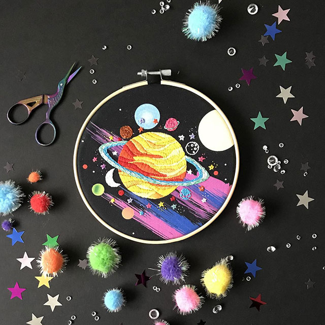 Hot Planet embroidery kit by Nelly Makes Embroidery