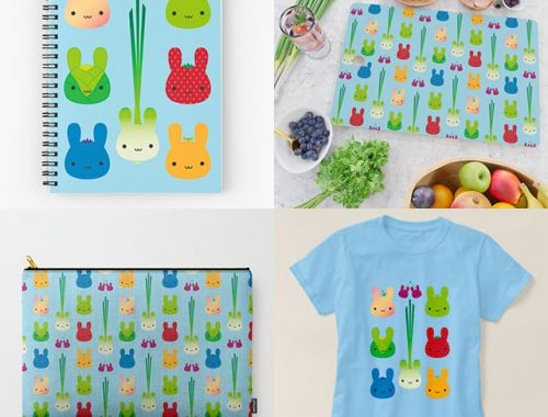 Bunny Fruit & Vegetables on Society6, Redbubble & Zazzle