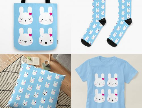 Bunny Emotions on Society6, Redbubble & Zazzle