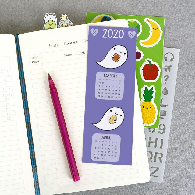 printable 2020 calendar bookmark
