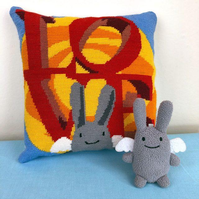 Angel Bunny Tapestry Cushion